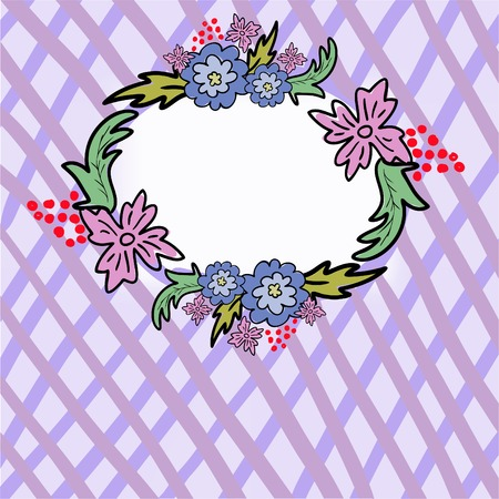 abstract purple background in cell  with a floral border at the center Stock Vector - 8809791