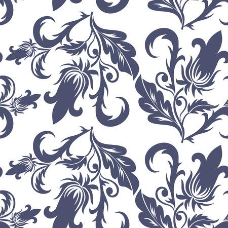 textile image: seamless dark blue floral pattern on a white background Illustration