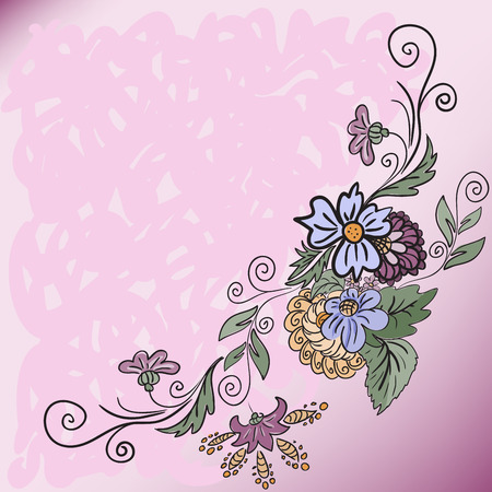 abstract pink background with a hand-drawn flowers Vector