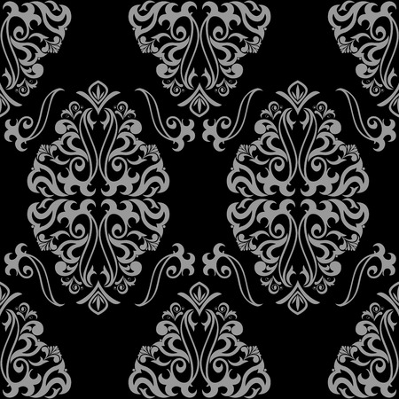textile design: classic gray seamless ornament on a black background