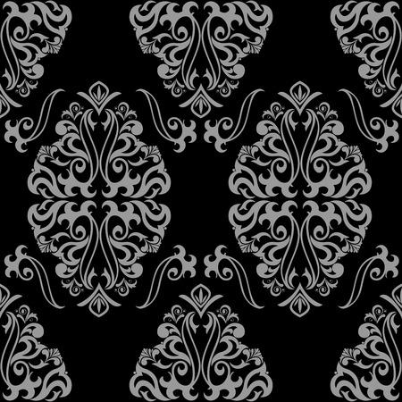 tessile: classico ornamento senza saldatura grigio su sfondo nero