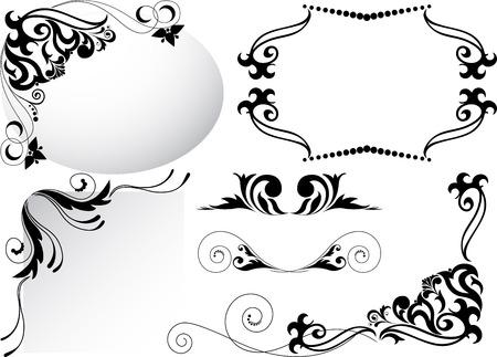 separating: a set of black corner ornaments and separating elements