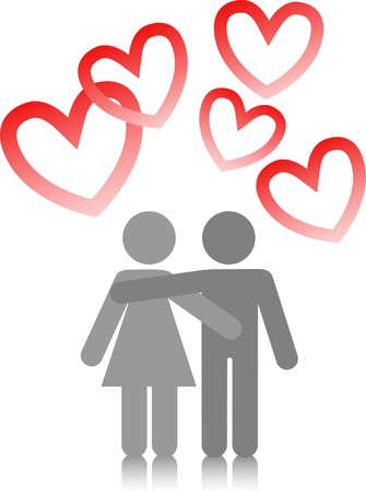 male symbol: two lovers are embracing on a white background with red hearts Illustration