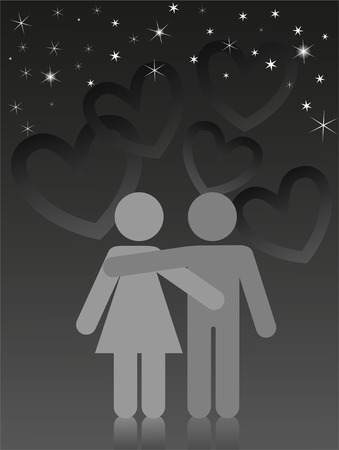 two lovers are embracing under a starry sky Stock Vector - 8809793