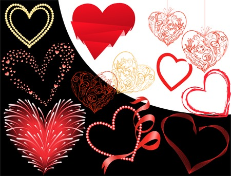 set of twelve different hearts on a black and white background Vector