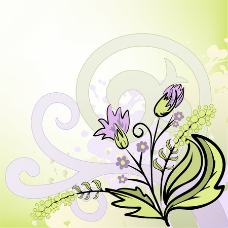 gamut: abstract lilac and green background with hand-drawn bouquet of wildflowers