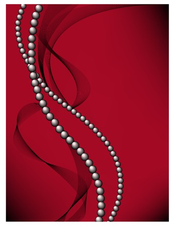 costume jewelry: black pearls with a haze on red background Illustration