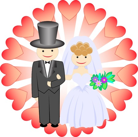 bride and groom surrounded by hearts on the background radiation Vector