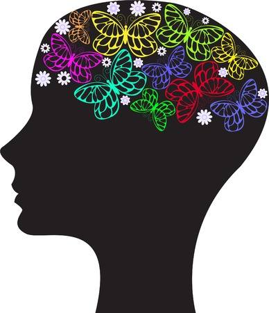 black silhouette of a womans head with flowers and butterflies Vector
