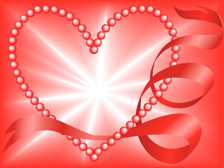 Red Pearl Heart entwined silk ribbon on the radiant background Vector