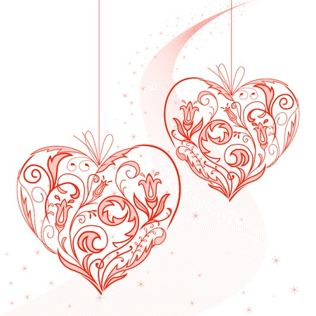 twists: Two lacy heart on a string on the starry dust Illustration