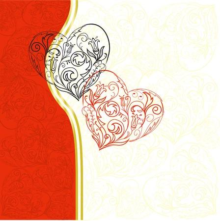 rote und schwarze lacy Herzen über asymmetric weiß-roten Hintergrund