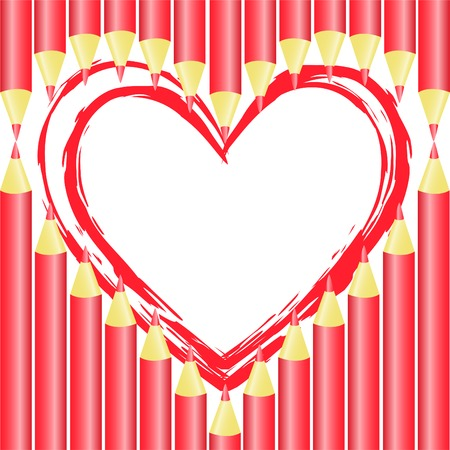 heart of the red pencil on a white background Stock Vector - 8809810