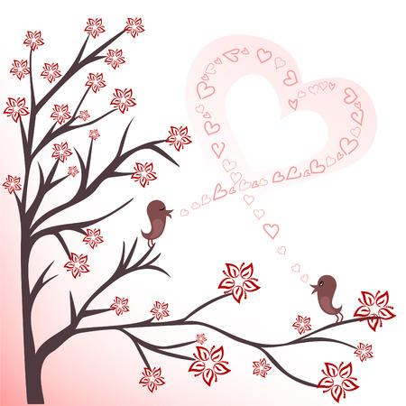 歌: 開花枝上の 2 つの愛の鳥の歌を歌う