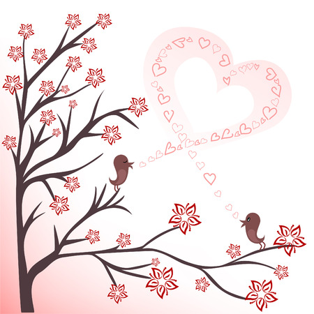 two love birds on flowering branches sing a song Vector