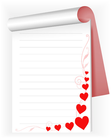 open notepad with red hearts and pink sprigs Vector