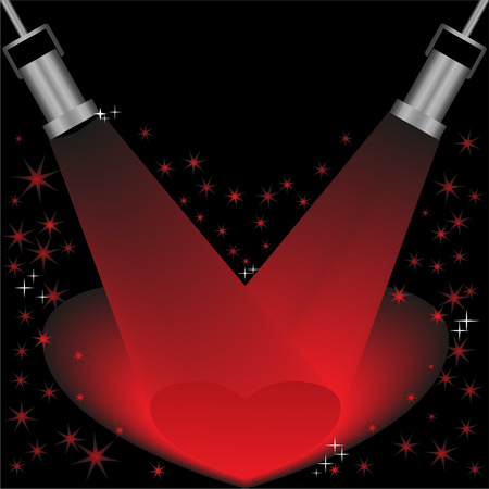 twain: Red heart lightened by the rays of searchlights on a black background Illustration