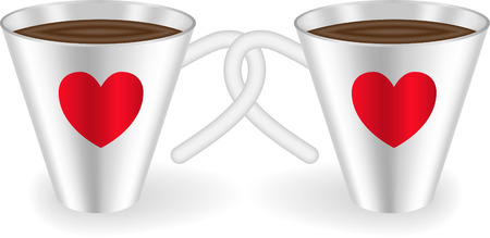 Two cups with intertwined handles decorated with  hearts Vector