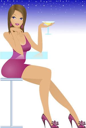 beautiful brunette with a glass of the glass table in the twilight Stock Vector - 8925091