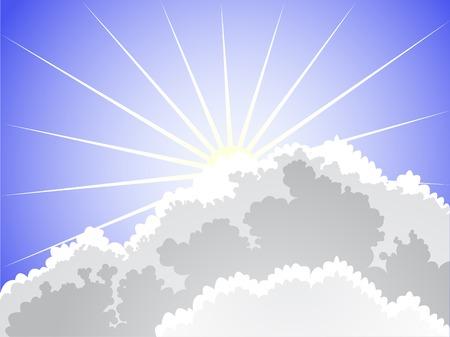 rayos del sol rompiendo nubes Ilustración de vector