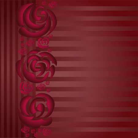 asymmetric: asymmetric burgundy background with a band of roses