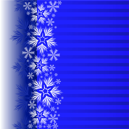 Blue Christmas background with a band decorated with snowflakes Stock Vector - 8925195