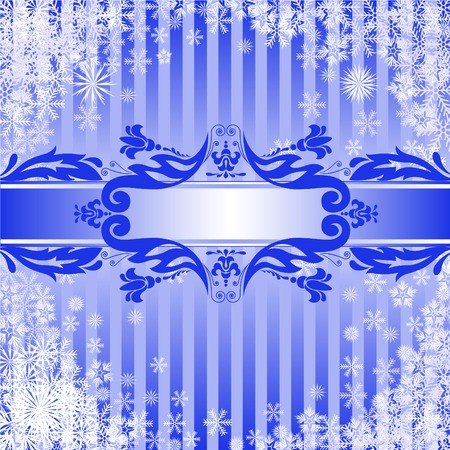Blue Christmas background with a band of ornamental Stock Vector - 8925198