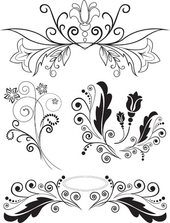 Vector illustration set of swirling flourishes decorative floral elements Stock Vector - 8925194