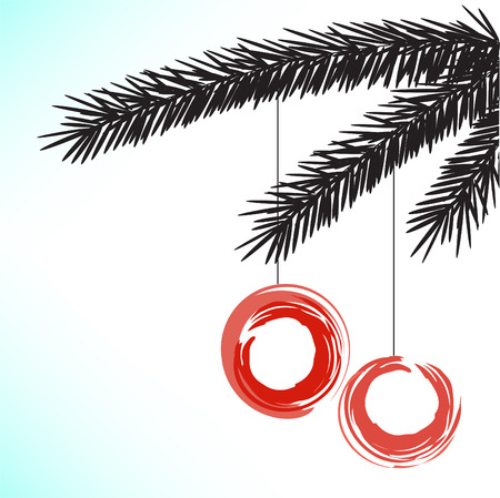 pine boughs: black silhouette of a fir branch with two red balls