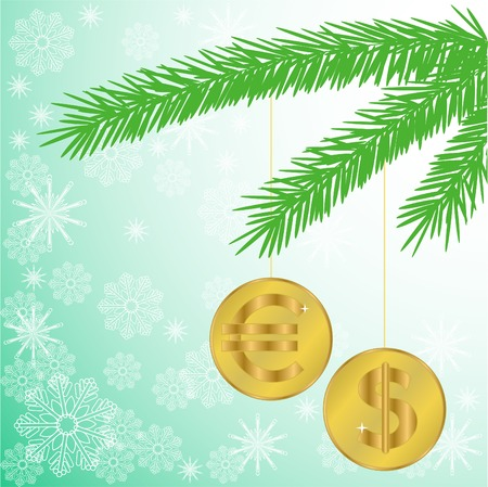 currency glitter: green silhouette of a fir branch with two shiny coins