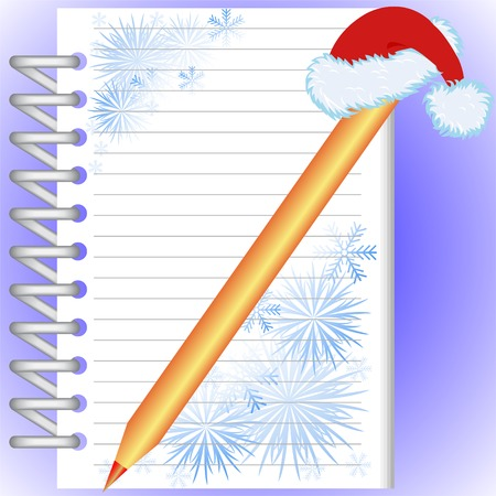 New Years notebook with snowflakes and a gold pencil in a red cap Vector