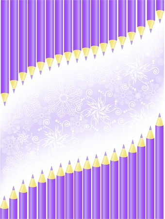 asymmetric background of purple pencils and snowflakes Stock Vector - 8925545