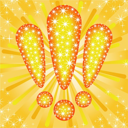 Three glittering exclamation mark on a gold star background Vector