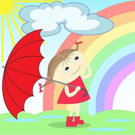 lluvia paraguas: Niña con paraguas rojo se encuentra después de una lluvia bajo el arco iris