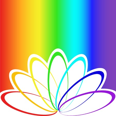 rainbow stripe: abstract flower petals in bright rainbow background