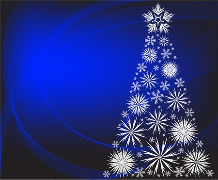 Christmas tree with white snowflakes on  blue background Vector