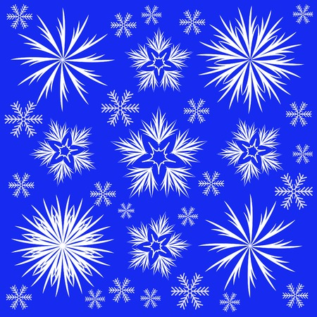 many different white snowflakes on a blue background Stock Vector - 8925208