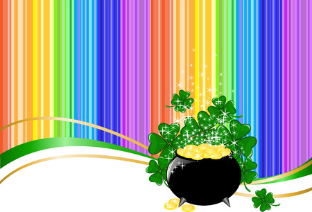 leprechaun background: Leprechaun pot of gold on rainbow background with clover Illustration