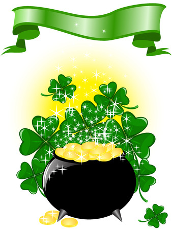 Leprechaun pot of gold  on a shimmering background with clover and ribbon Vector