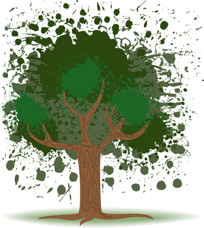 Green tree of several colorful blobs on a white background Vector