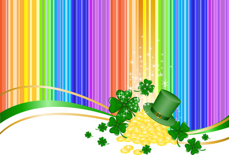 Leprechaun gold  and a hat on rainbow background with clover Vector