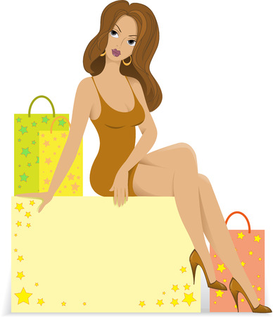 beautiful girl sitting on a box with bags Vector
