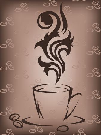 demitasse: Stilizzato tazza di caff� su sfondo marrone con chicchi di caff�