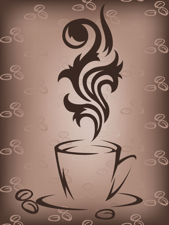 steaming: Stylized cup of coffee on a brown background with coffee beans Illustration