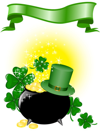 Leprechaun pot of gold and hat on a shimmering background with clover Vector