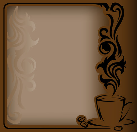 steaming: antique frame with a stylized  a cup of coffee and coffee beans