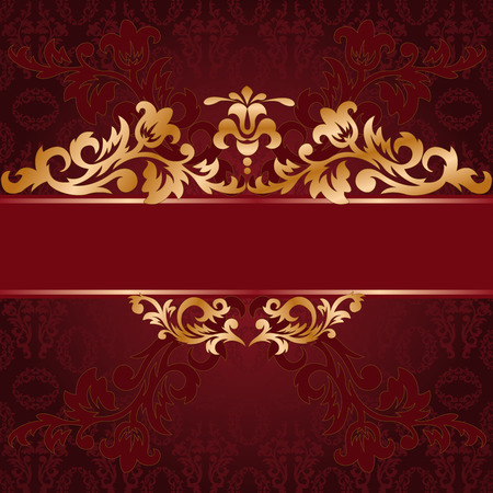 brocade: red background with a gold ornate ornaments Illustration