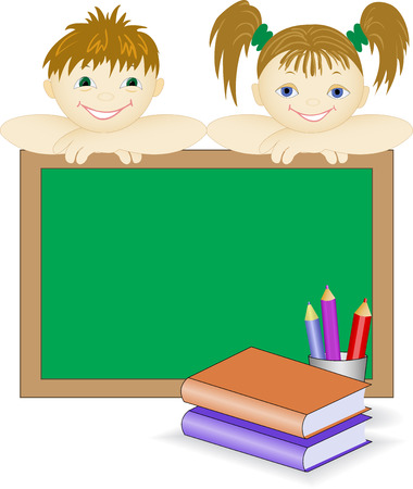 boy and a girl peep out for school board Stock Vector - 8977783