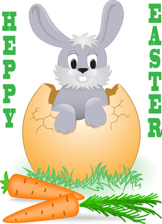 Easter Bunny looks out the broken egg Vector