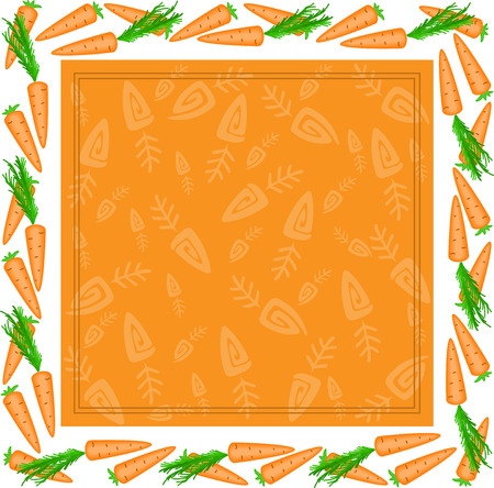 orange square frame made of carrots with white edges Vector
